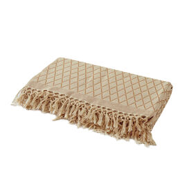 100% Cotton Hand Woven Beige and Latte Colour Phulkari Style Bedcover with Fringes (Size 270x220 Cm)