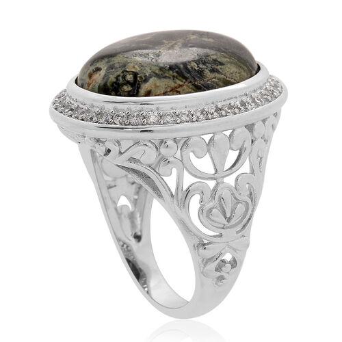 Kambaba Jasper (Ovl 14.00 Ct), Simulated White Diamond Ring in Silver Tone 17.000 Ct.