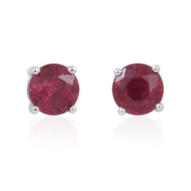 ILIANA 18K White Gold AAA Burmese Ruby (Rnd) Stud Earrings (with Screw Back) 1.000 Ct.