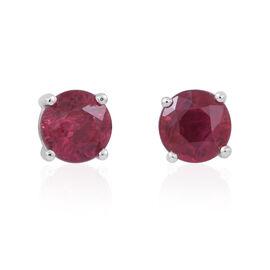 ILIANA 18K W Gold AAA Burmese Ruby (Rnd) Stud Earrings (with Screw Back) 1.000 Ct.
