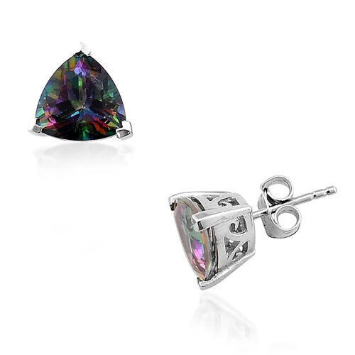 Coated Mystic Topaz (5.25 Ct) Platinum Overlay Sterling Silver Earring