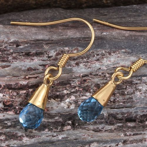 Swiss Blue Topaz Hook Earrings in 14K Gold Overlay Sterling Silver 2.820 Ct.