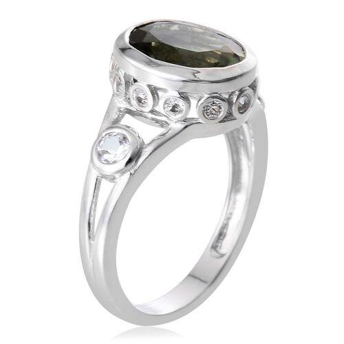 Bohemian Moldavite (Ovl 2.00 Ct), White Topaz Ring in Platinum Overlay Sterling Silver 2.500 Ct.