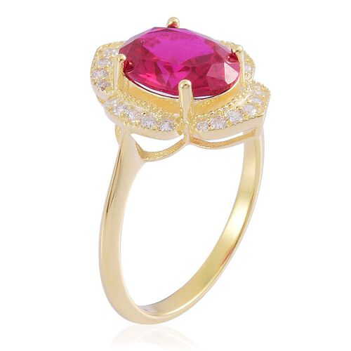 Simulated Ruby (Ovl), Simulated White Diamond Ring in 14K Gold Overlay Sterling Silver
