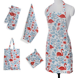 Kitchen Textiles White, Red, Aqua and Blue Colour Swan and Leaves Printed Apron (Size 75x65 Cm), Glove (32x18 Cm), Pot Holder (Size 20x20 Cm), Kitchen Towel (65x40 Cm) and Bag (45x35 Cm)