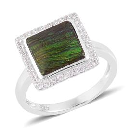 Canadian Ammolite (Sqr 3.25 Ct), White Zircon Ring in Platinum Overlay Sterling Silver 3.750 Ct.