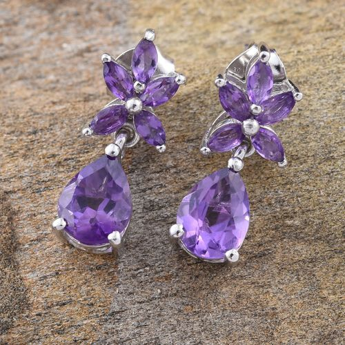 Amethyst (Pear) Earrings (with Push Back) in Platinum Overlay Sterling Silver 2.750 Ct.