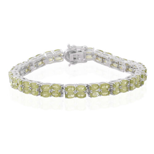 Hebei Peridot (Ovl) Bracelet (Size 7.5) in Rhodium Plated Sterling Silver 16.000 Ct. Silver wt 16.00 Gms.
