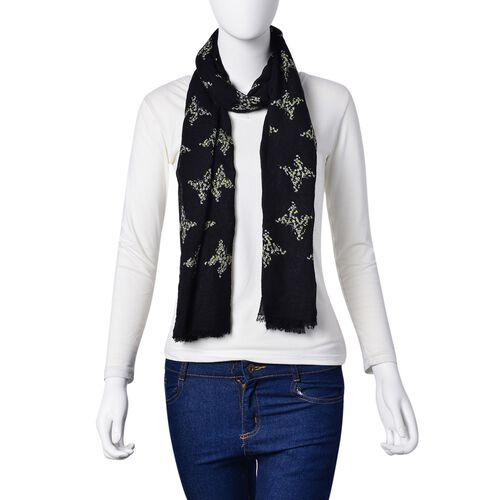 White and Golden Colour Butterfly Pattern Black Colour Scarf (Size 180x70 Cm)