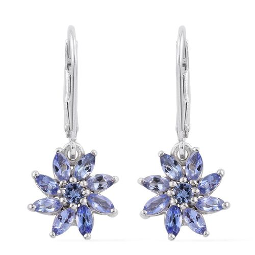 Tanzanite (Mrq) Lever Back Earrings in Platinum Overlay Sterling Silver 1.250 Ct.