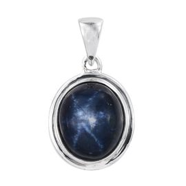 AAA Star Blue Sapphire (Ovl) Solitaire Pendant in Platinum Overlay Sterling Silver 5.750 Ct.