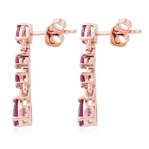 Rare Mozambique Grape Colour Garnet (Pear) Dangling Earrings (with Push Back) in Rose Gold Overlay Sterling Silver 1.750 Ct.