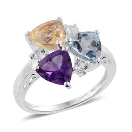 Sky Blue Topaz (Trl 1.25 Ct), Citrine, Amethyst and White Topaz Ring in Sterling Silver 3.750 Ct.
