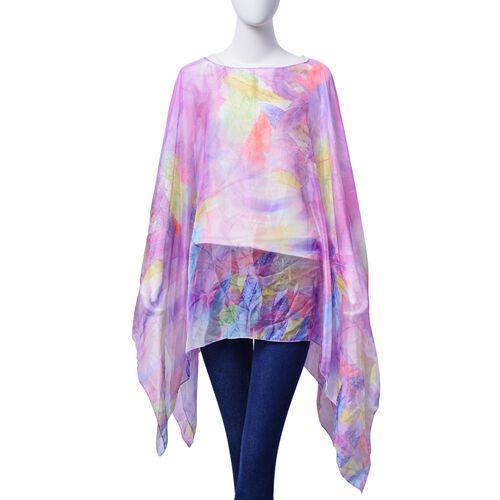 Multi Colour Feather Pattern Purple Colour Poncho (Size 135x70 Cm)