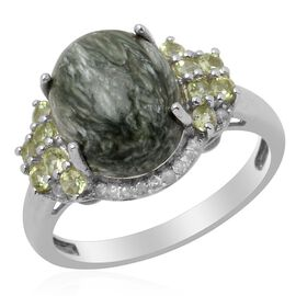 Siberian Seraphinite (Ovl 5.00 Ct) White Topaz and Hebei Peridot Ring in Platinum Overlay Sterling Silver 5.250 Ct.