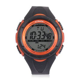 STRADA Electronic Movement LED Display Watch in Orange Colour Tone with Stainless Steel Back and Black Silicone Strap