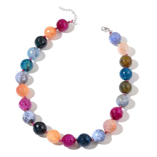 Rare Size 18 mm Round Faceted Multi Agate Necklace (Size 18 with 2 inch Extender) in Rhodium Plated Sterling Silver 840.000 Ct.