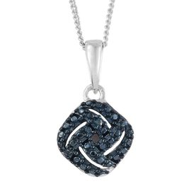 Blue Diamond (Rnd) Pendant with Chain in Platinum Overlay Sterling Silver