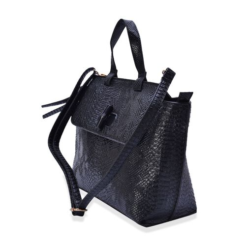 Black Colour Snake Embossed Tote Bag with External Zipper Pocket and Adjustable and Removable Shoulder Strap (Size 42x27x12 Cm)