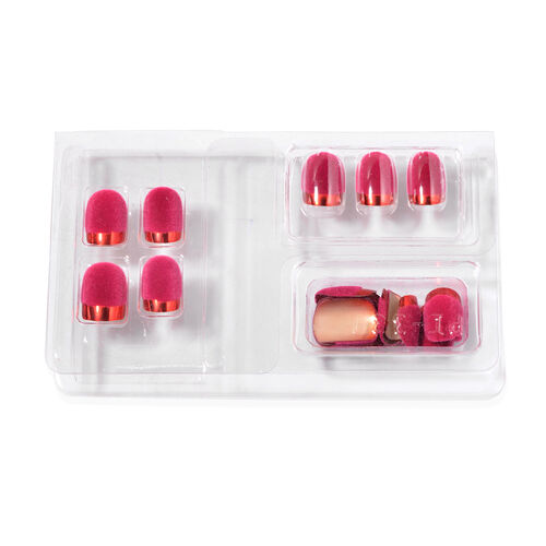 Fuchsia and Red Colour Artificial Nails