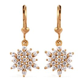 Natural Cambodian Zircon 1 Carat Snowflake Lever Back Earrings in Gold Overlay Sterling Silver