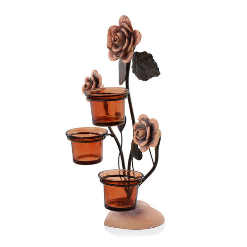 (Option 2) Home Decor - Three Clay Flower Candle Holder with Brown Glass