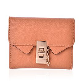 Italian Tan Colour Wallet with Jewelry-Inspired Hardware Lock (Size 11.5x9.5 Cm)