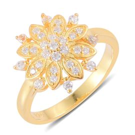 AAA Simulated White Diamond Floral Ring in Yellow Gold Overlay Sterling Silver
