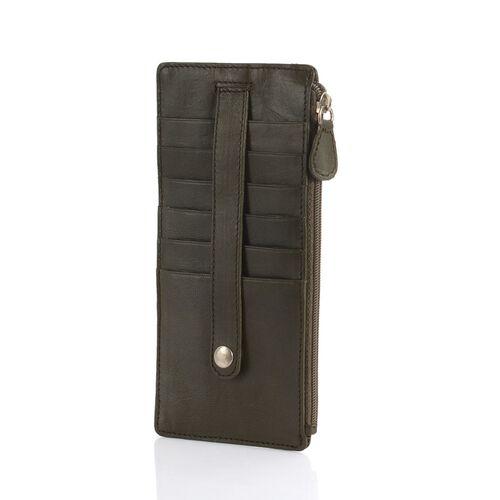 Genuine Leather RFID Blocker Olive Green Colour Ladies Wallet (Size 17x8 Cm)