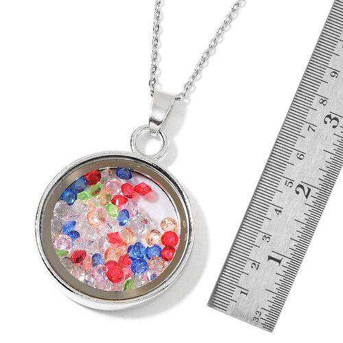 Simulated Multi Colour Diamond - Coin Shape Pendant With Chain (Size 24)