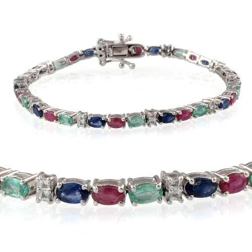 Kanchanaburi Blue Sapphire (Ovl), African Ruby, Kagem Zambian Emerald and White Topaz Bracelet in Platinum Overlay Sterling Silver (Size 7.5) 8.000 Ct.