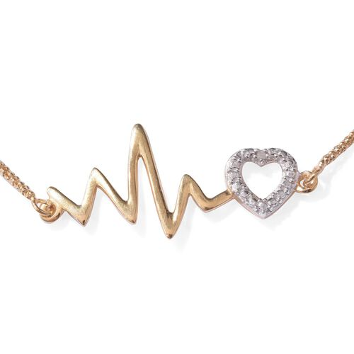 Diamond (Rnd) Adjustable Heartbeat Bracelet (Size 6.5 to 8) in 14K Gold Overlay Sterling Silver
