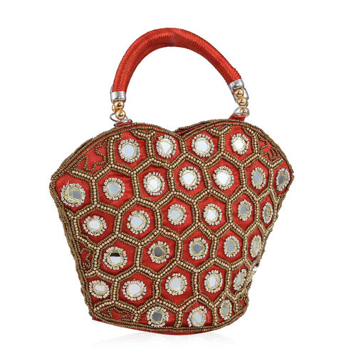Super Auction - Limited Edition, Hand Made, Hand Set - Golden Colour Beads Embellished Red Colour Handbag (Size 22X18X7 Cm)