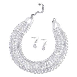 Simulated White Diamond Necklace (Size 18) and Hook Earrings in Silver Tone