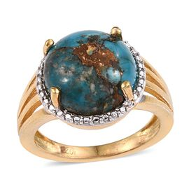 Mojave Blue Turquoise (Rnd) Solitaire Ring in 14K Gold Overlay Sterling Silver 6.750 Ct.