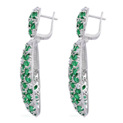 Red Carpet Collection- ELANZA AAA Simulated Emerald (Ovl), Simulated White Diamond Floral Earrings in Rhodium Plated Sterling Silver
