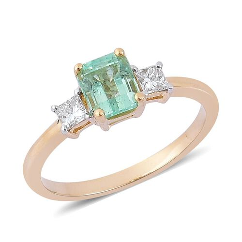 14K Y Gold Boyaca Colombian Emerald (Oct 0.75 Ct), Diamond Ring 1.000 Ct.