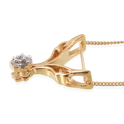 Diamond (Rnd) Pendant With Chain in 14K Gold Overlay Sterling Silver 0.100 Ct.