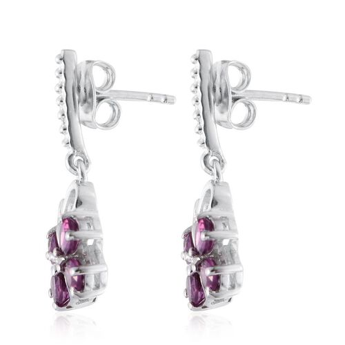 Rare Mozambique Grape Colour Garnet (Pear) Butterfly Earrings (with Push Back) in Platinum Overlay Sterling Silver 1.500 Ct.