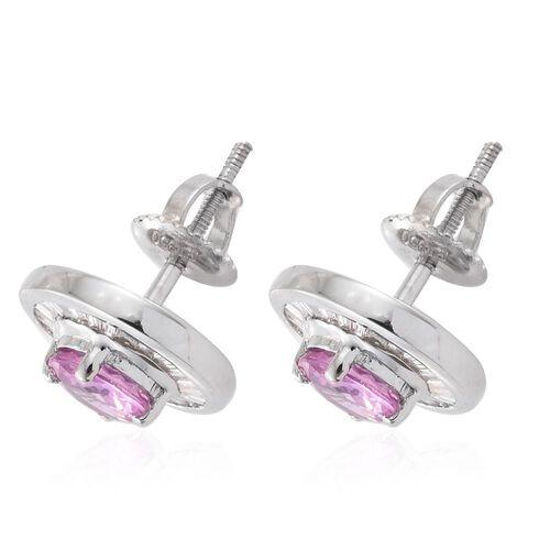 RHAPSODY 950 Platinum AAAA Pink Sapphire (Rnd), Diamond (VS/E-F) Stud Earrings (with Screw Back) 1.660 Ct. 5.4 Grams of Platinum