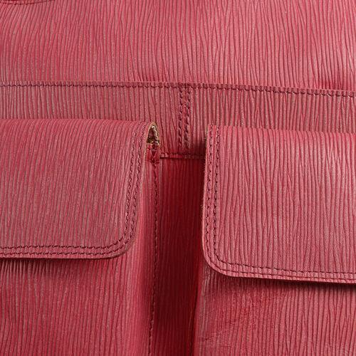 100% Genuine Leather RFID Blocker Pink Colour Sling Bag with External Pockets and Adjustable Shoulder Strap (Size 31X27.5X5 Cm)