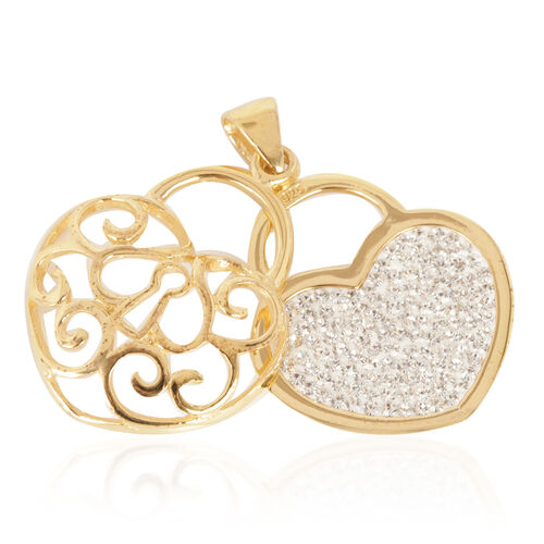 Close Out Deal AAA White Austrian Crystal (Rnd) Pendant in Yellow Gold Overlay Sterling Silver
