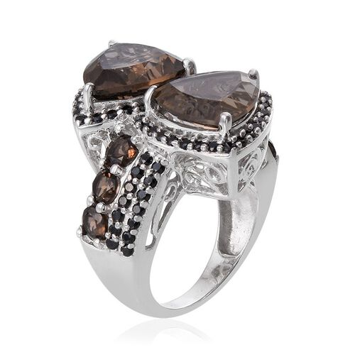 Brazilian Smoky Quartz (Trl), Boi Ploi Black Spinel Ring in Platinum Overlay Sterling Silver 13.000 Ct.
