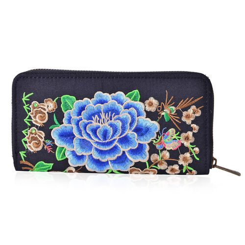 Shanghai Collection Blue, Beige and Multi Colour Floral  Embroidered Black Colour Wallet (Size 19x10x2 Cm)
