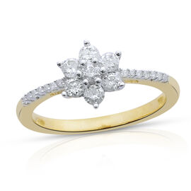 9K Yellow Gold SGL Certified 0.50 Carat Diamond (I3/G-H) Floral Ring.