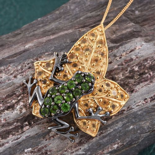 GP Russian Diopside (Rnd), Citrine and Kanchanaburi Blue Sapphire Frog on Leaf Pendant with Chain in 14K Gold Overlay Sterling Silver 2.250 Ct.