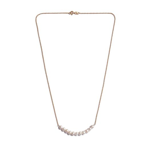 Fresh Water Pearl Necklace (Size 20) in Yellow Gold Overlay Sterling Silver 10.400 Ct.