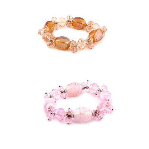 Set of 2 - Pink and Orange Glass Stretchable Bracelet