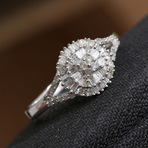 Diamond Platinum Overlay Sterling Silver Ring  0.515  Ct.