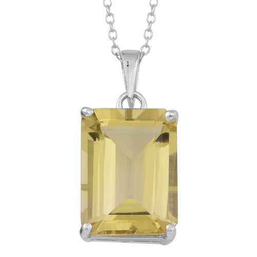 Natural Ouro Verde Quartz (Oct) Solitaire Pendant With Chain in Rhodium Plated Sterling Silver 9.000 Ct.
